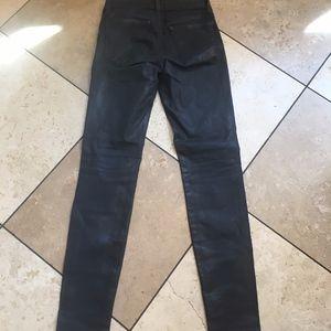 JBrand Super Skinny Blue Coated Jeans 24 leather